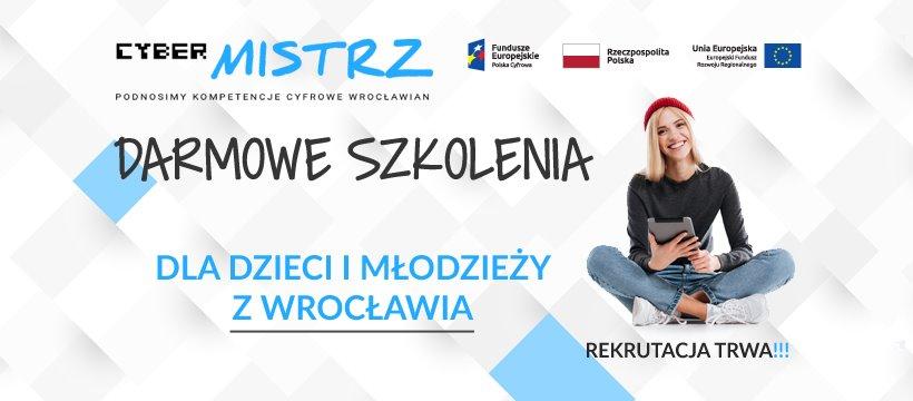 Grafika reklamowa wydarzenia. Postać siedzącej dziewczyny z tabletem w ręku. Logotypy organizatorów. Tekst: Podnosimy kompetencje cyfrowe wrocławian. Darmowe szkolenia dla dzieci i młodzieży z Wrocławia.